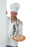 Young attractive chef male, pizza Stock Photography