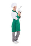 Young attractive chef woman with mixer - full length isolated on Royalty Free Stock Image