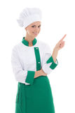 Young attractive chef woman showing or presenting something isol Stock Photography