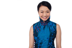 Young attractive chinese woman in blue dress Stock Photos