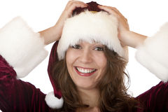 Young attractive Christmas Santa Claus woman Stock Photo