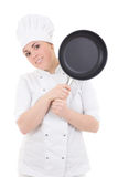 Young attractive cook woman in uniform with frying pan isolated Royalty Free Stock Photos