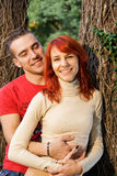 Young attractive couple. In a forest Royalty Free Stock Photos
