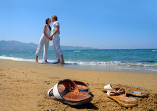 Young attractive couple at the beach Stock Photo