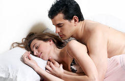 Young attractive couple  in bedroom Stock Photo