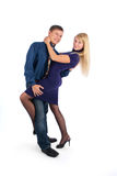 Young attractive couple dancing Stock Images