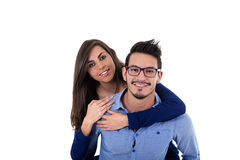 Young attractive couple dressed in blue Stock Photography