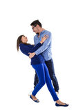 Young attractive couple dressed in blue Royalty Free Stock Photography