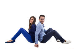 Young attractive couple dressed in blue Stock Photos