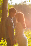 Young attractive couple in love kissing in summer nature Royalty Free Stock Images