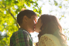 Young attractive couple in love kissing in summer nature. Young attractive couple in love kissing in summer in field Stock Images