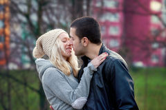 Young attractive couple in love, teenagers having fun outdoors, Stock Photos
