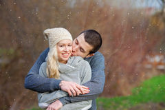 Young attractive couple in love, teenagers having fun outdoors, Royalty Free Stock Photography