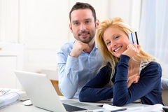 Young attractive couple shopping online Royalty Free Stock Photo