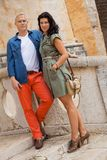 Young attractive couple in summer fashion Royalty Free Stock Photography