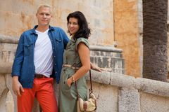 Young attractive couple in summer fashion Royalty Free Stock Images