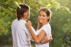 Young attractive couple together outdoors Stock Photos