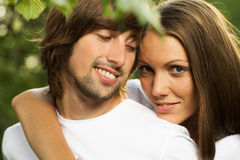 Young attractive couple together outdoors Royalty Free Stock Image