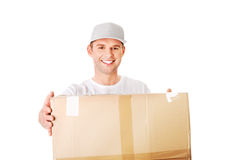 Young attractive courier guy Stock Photos
