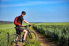 Young attractive cyclist standing up with mountain bicyclist in the summer green field. Stock Photography