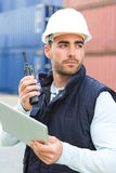 Young Attractive docker using tablet at work Stock Photos