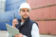 Young Attractive docker using tablet at work Stock Image