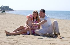 Young attractive family on vacation in Spain Royalty Free Stock Images