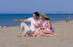 Young attractive family on vacation in Spain Stock Photo