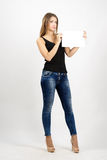 Young attractive fashion beauty holding blank paper Stock Photos