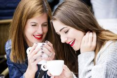 Young and attractive fashionable women are having fun at a cafe. Stock Images