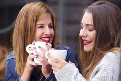 Young and attractive fashionable women are having fun at a cafe. Stock Photo