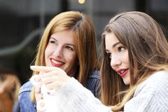 Young and attractive fashionable women are having fun at a cafe. Royalty Free Stock Image