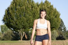 Young and Attractive Female Athlete Smiles. Stock Photos