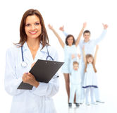 Young attractive female doctor and family Stock Images
