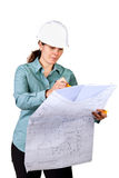Young attractive female engineer. With hard hat isolated on white Stock Photo