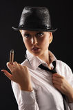 Young attractive female gangster Stock Photo