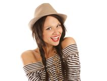 A young and attractive female with a hat Stock Photo