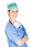 Young attractive female healthcare professional. Young Caucasian female healthcare professional in scrubs Royalty Free Stock Photos