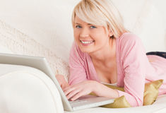 Young attractive female relaxing Royalty Free Stock Photography