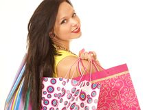 A young and attractive female with shopping bags Royalty Free Stock Image