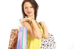 A young and attractive female with shopping bags Royalty Free Stock Images