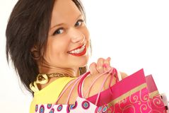 A young and attractive female with shopping bags Royalty Free Stock Photo