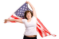 Young attractive female wave american flag Stock Photo
