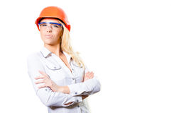 Young Attractive  Female Wearing Hard Hat and Royalty Free Stock Photos
