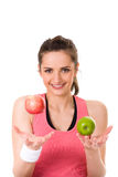 Young Attractive Female With Red And Green Apple Royalty Free Stock Photo