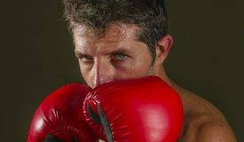 Young attractive and fierce looking man in boxing gloves posing in defense boxer stance isolated on dark background in sport and. Close up face portrait of young royalty free stock photo
