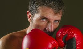 Young attractive and fierce looking man in boxing gloves posing in defense boxer stance isolated on dark background in sport and. Close up face portrait of young royalty free stock photos