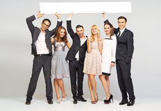 Young attractive friends wearing elegant clothes Royalty Free Stock Images