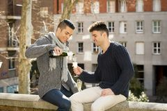 Young attractive gay men couple celebrating together Valentines day or anniversary champagne toast Stock Photography