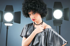 Young attractive girl. With afro curly haircut Stock Photography